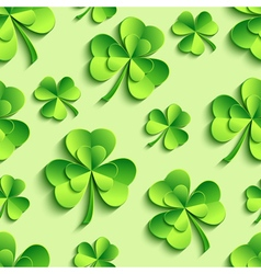 Green seamless pattern with 3d patricks clover vector