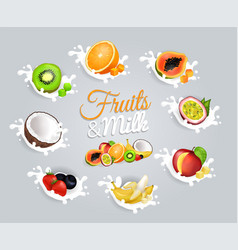 Fruits and milk inscription in center on grey vector
