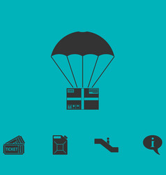 Aerial post delivery icon flat vector