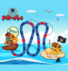 Boardgame template with pirate and treassure vector