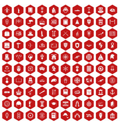 100 history icons hexagon red vector