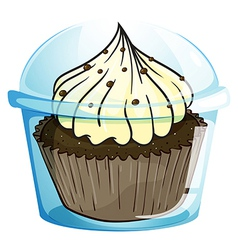A cupcake inside the blue disposable container vector