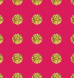 Pattern polka dot gold on pink background vector
