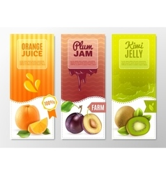 Fruits 3 ad vertical banners set vector