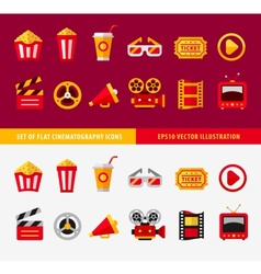 Set of flat cinema icons for online vector image