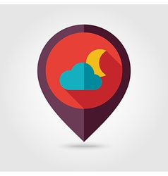 Cloud moon flat pin map icon meteorology weather vector
