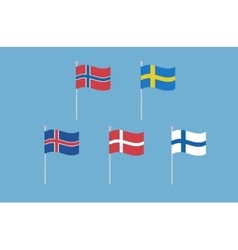 Set of nordic europe flags norway sweden vector