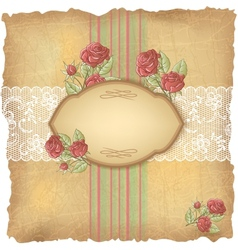 Vintage roses lace background vector
