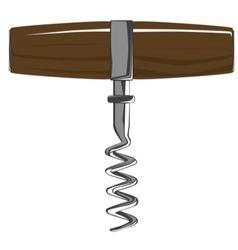 Corkscrew with wooden handle vector