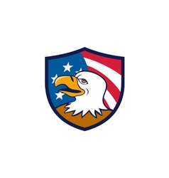 Bald eagle smiling usa flag crest cartoon vector