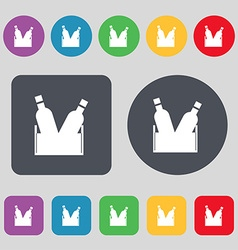 Beer bottle icon sign a set of 12 colored buttons vector