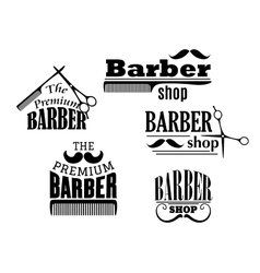 Black retro barber shop icons vector