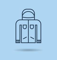 blue linear icon - winter sportswear - jacket vector image