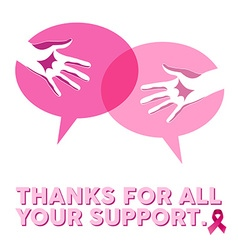 Breast cancer awareness social support hands vector image