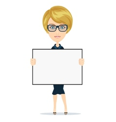 Business woman holding a banner - isolated over vector image vector image