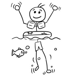 cartoon stick man relaxing swimming with swim ring vector image