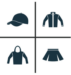 Dress icons set collection of sweatshirt trilby vector