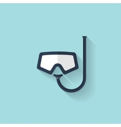 Flat diving mask and tube web icon vector image