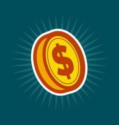 gold dollar coin vector image vector image