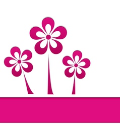 greeting card with pink flowers vector image vector image