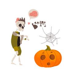 halloween pumpkin lantern skeleton spider web vector image vector image