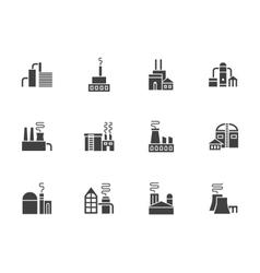 Industrial plants black monochrome icons vector
