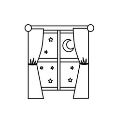 Line window with curtain the night and moon with vector