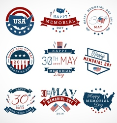 Memorial day badges and labels in vintage style vector