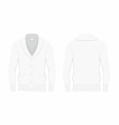 Mens white cardigan vector