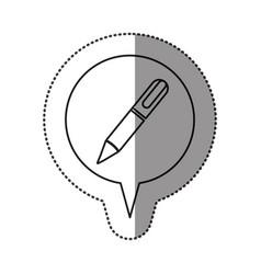 Monochrome contour sticker with pen icon in vector