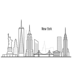 New york city skyline - manhatten cityscape vector