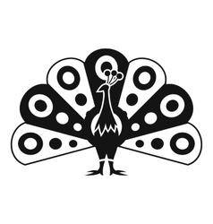 Peacock with flowing tail icon simple style vector image