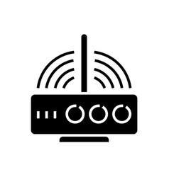 router wireless icon black vector image vector image