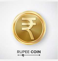 Rupee gold coin realistic money sign vector
