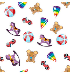seamless different toys pattern vector image vector image