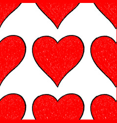seamless pattern red heart vector image vector image