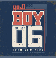 t-shirt graphics - boy from new york city vector image vector image