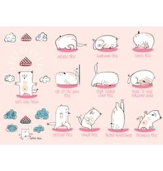 White yoga cat set vector