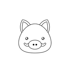 Wild boar drawing face vector
