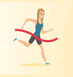 young caucasian sportswoman crossing finish line vector image
