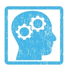 Brain gears icon rubber stamp vector