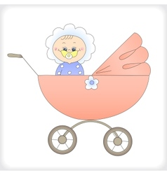 Child in a carriage vector