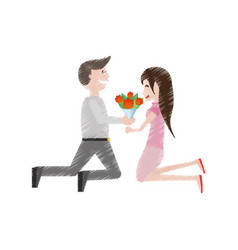 Drawing kneeling couple love with flowers vector