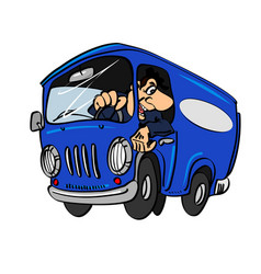 Cartoon blue bus with a driver vector