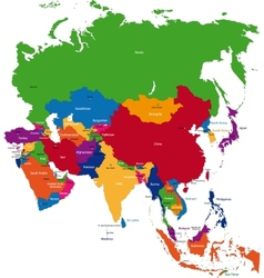 Colorful Asia map vector image