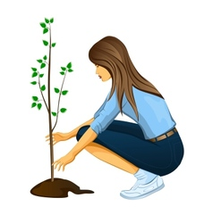 Girl planting a tree vector