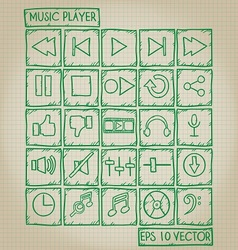 Music player icon doodle set vector