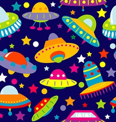 Ufo cartoon seamless vector