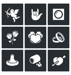 Love and romance icons set vector