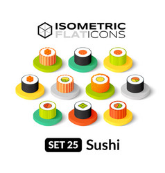 Isometric flat icons set 25 vector